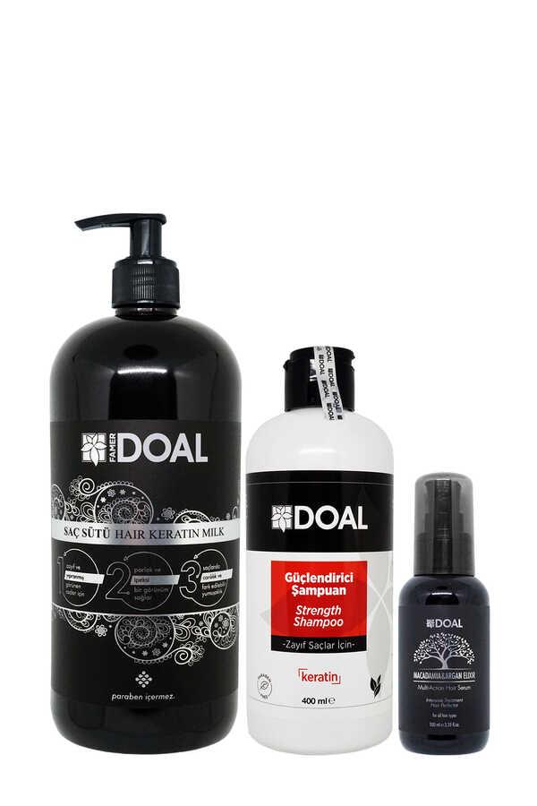 Doal Güçlendirici Şampuan 400 ml + Keratin Bakım Sütü 1000 ml + Macadamia & Argan Elixir Serum 100 ml