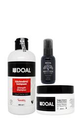 Doal - Doal Güçlendirici Şampuan 400 ml + Yoğun Onarıcı Maske 250 ml + Macadamia & Argan Elixir Serum 100 ml