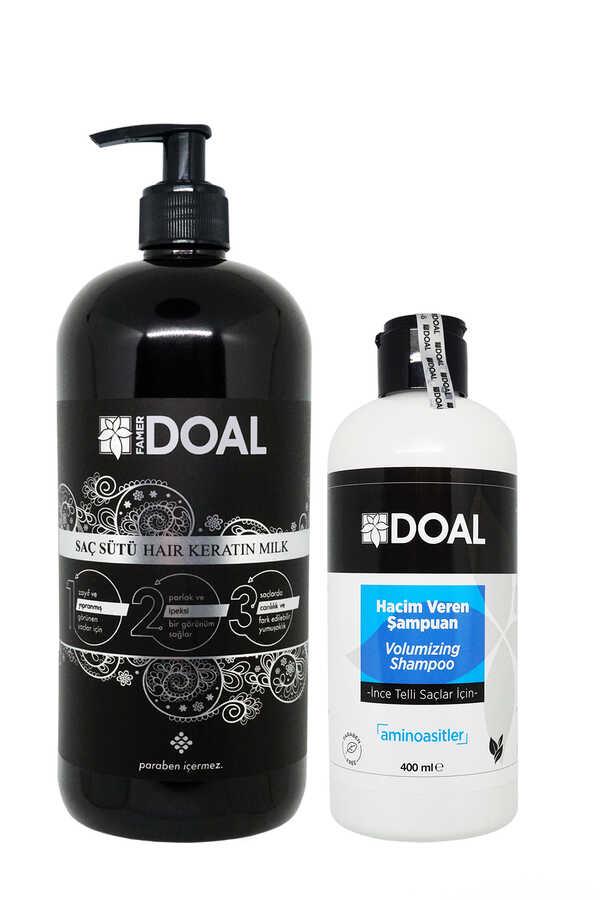 Doal Keratin Bakım Sütü Siyah 1000 ml + İnce Telli Saçlar İçin Hacim Veren Şampuan 400 ml