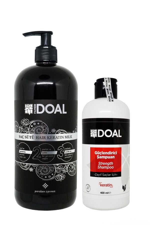 Doal Keratin Bakım Sütü Siyah 1000 ml + Zayıf Saçlar İçin Güçlendirici Keratin Şampuanı 400 ml